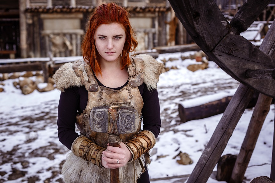 Viking woman wearing traditional clothes