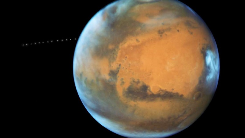 Martian Moon orbiting Mars