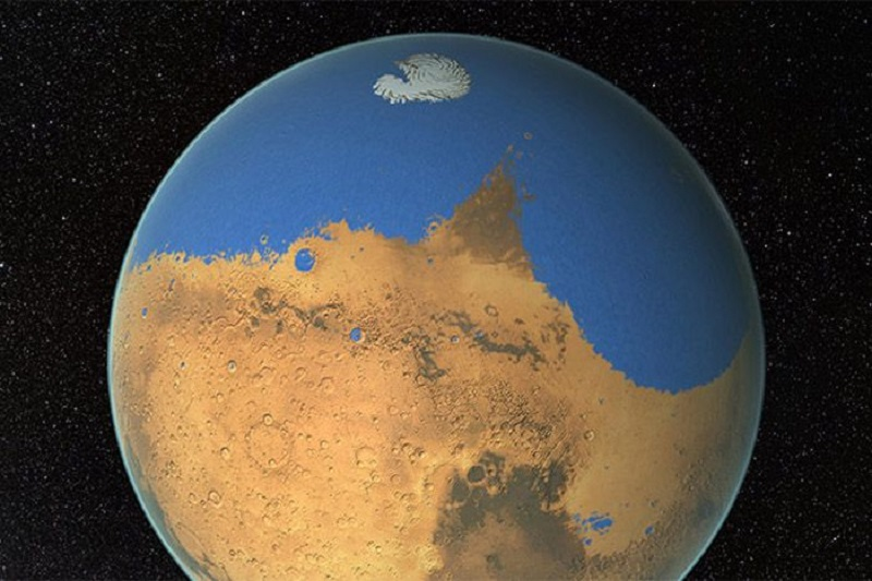 artist's impression of an ocean on Mars