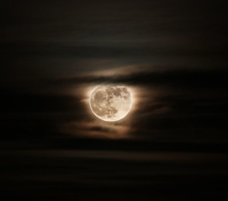 Full Moon in a cloudy sky