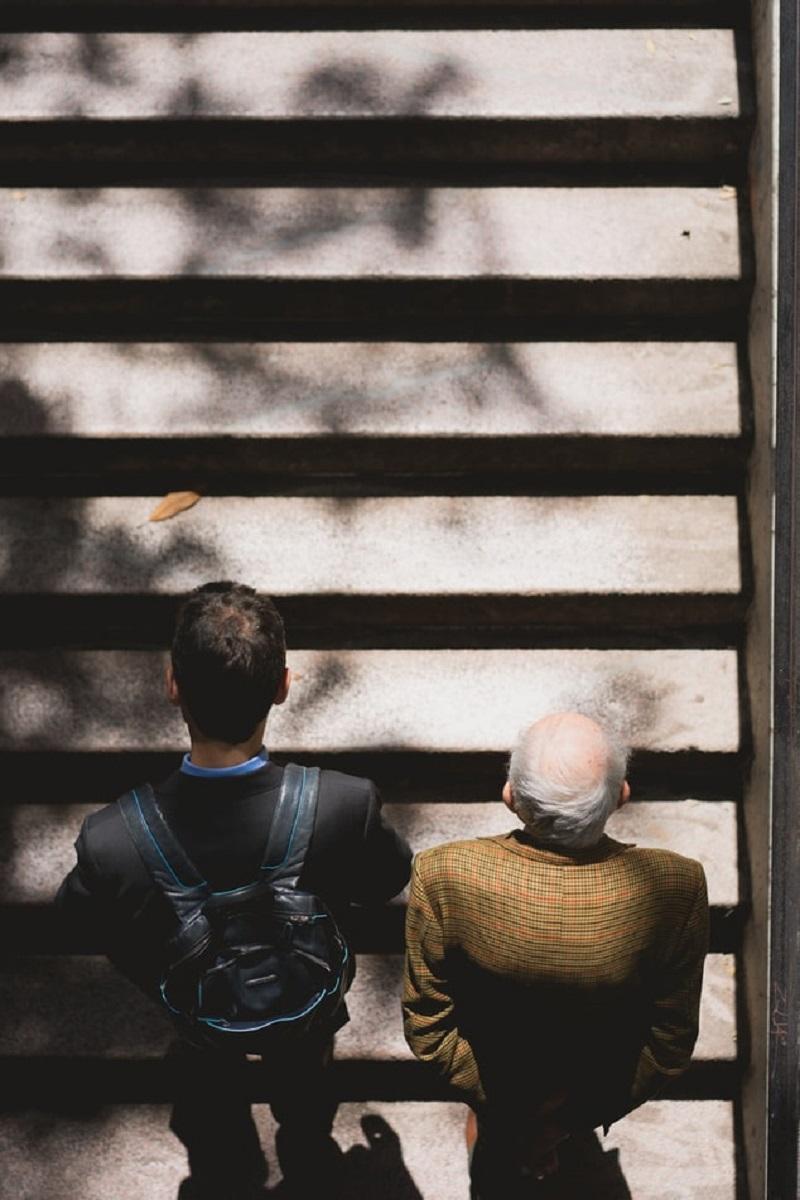 Men walking on stairs