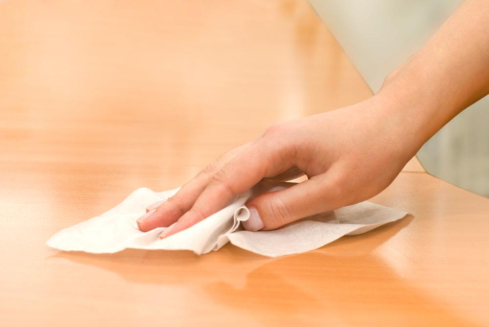 antibacterial wipes on wood